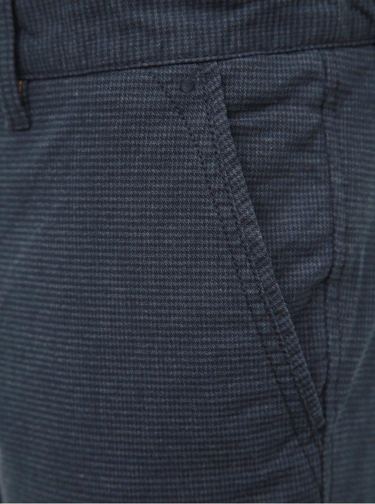 Modré vzorované slim fit kalhoty Selected Homme Parker