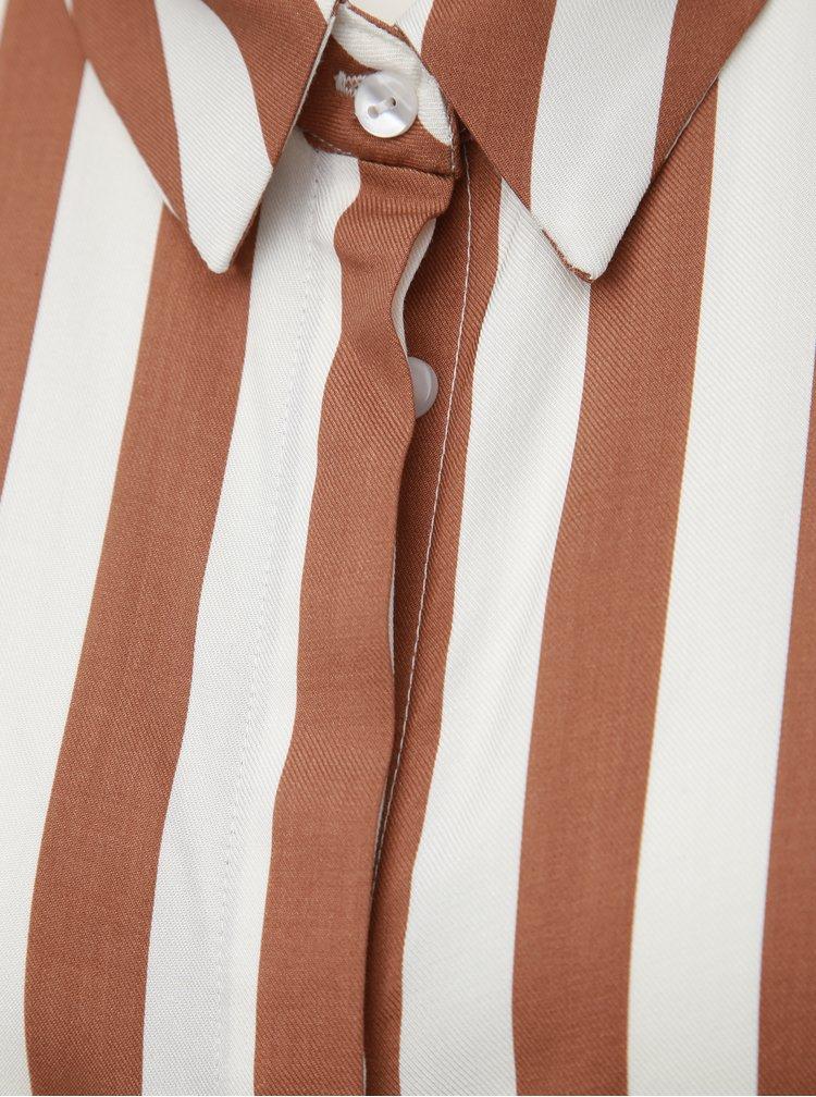 Bílo-hnědá pruhovaná dlouhá košile bez rukávů TALLY WEiJL