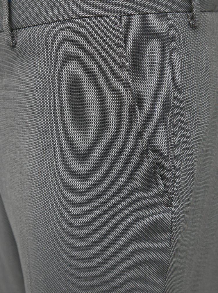 Šedé oblekové vzorované slim fit kalhoty Selected Homme Logan