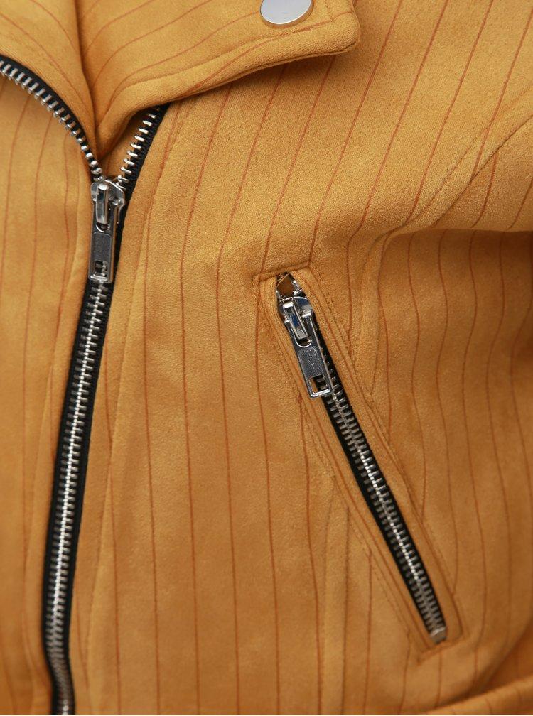 Hořčicový pruhovaný křivák v semišové úpravě TALLY WEiJL