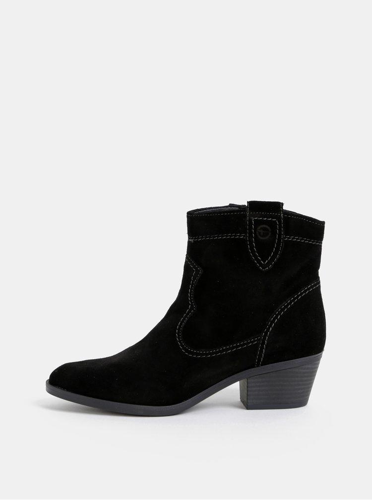 Čierne semišové kotníkové topánky Tamaris