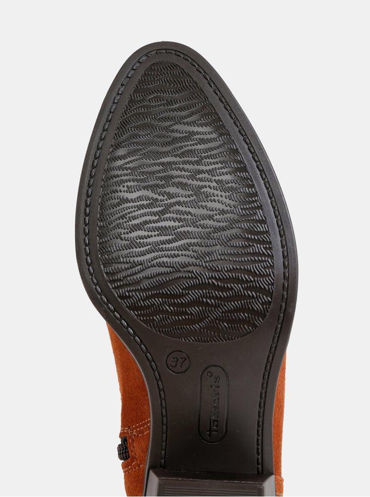 Hnedé semišové členkové topánky Tamaris
