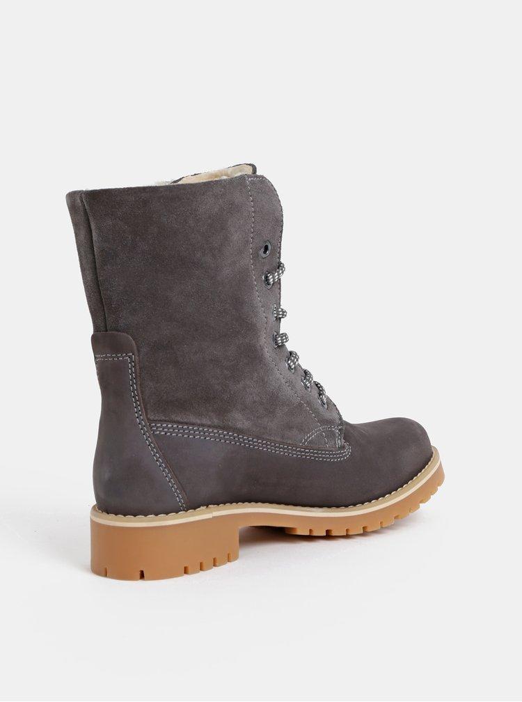 Šedé kožené zimní kotníkové boty Tamaris