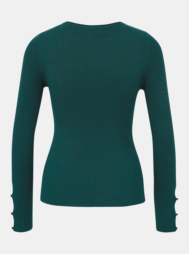 Zelený sveter s priestrihmi na rukávoch ONLY Liza