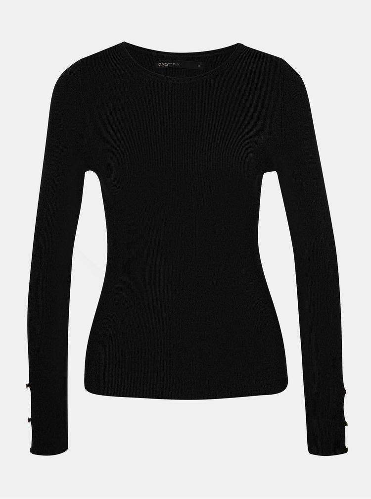 Čierny sveter s priestrihmi na rukávoch ONLY Liza