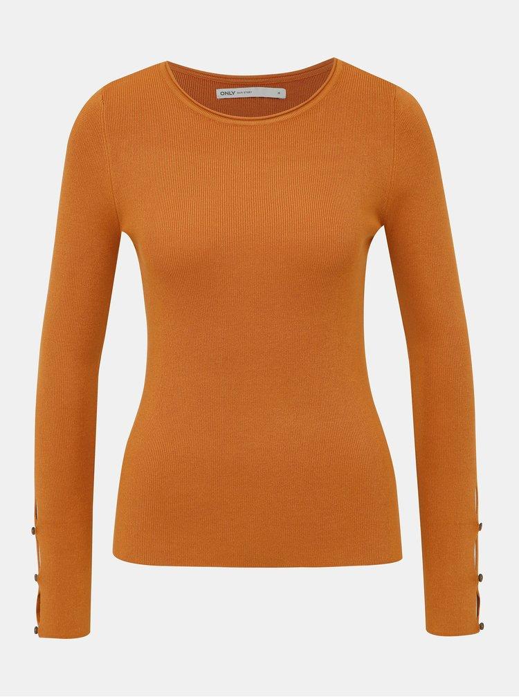 Hořčicový svetr s průstřihy na rukávech ONLY Liza