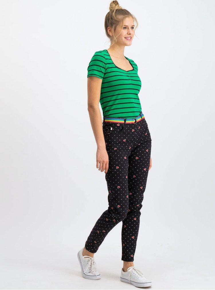 Černé vzorované kalhoty s páskem Blutsgeschwister Flotte Beene