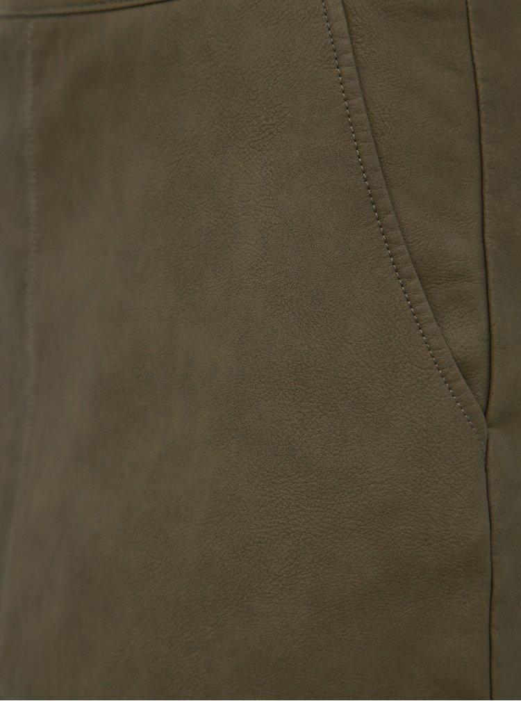 Khaki koženková minisukně ONLY Lisa