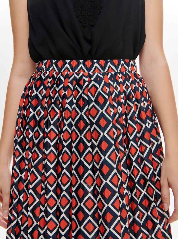 Modro-červená vzorovaná plisovaná midi sukně Jacqueline de Yong Harper