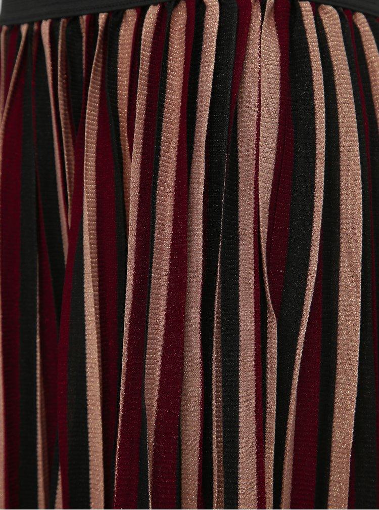 Vínová plisovaná pruhovaná midi sukně ONLY Way