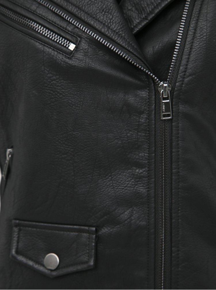 Černý zimní koženkový křivák s vnitřním umělým kožíškem ONLY Taylor