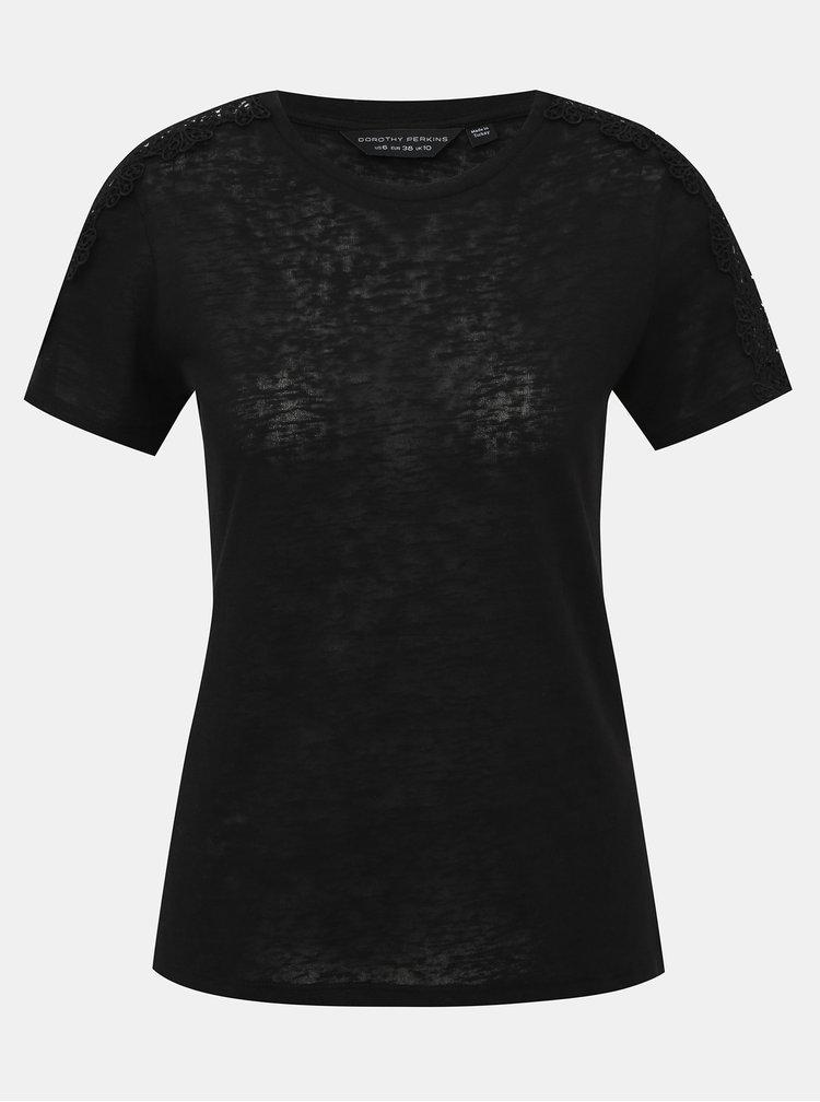 Černé tričko s krajkou Dorothy Perkins