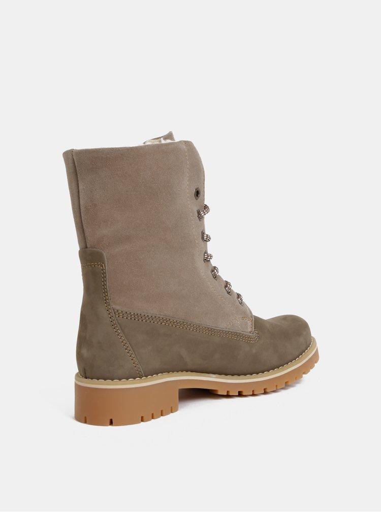 Béžové kožené zimné kotníkové topánky Tamaris