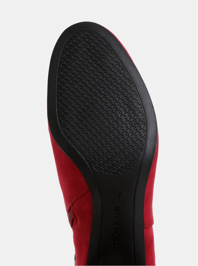 Tmavoružové kotníkové topánky v semišovej úprave Tamaris