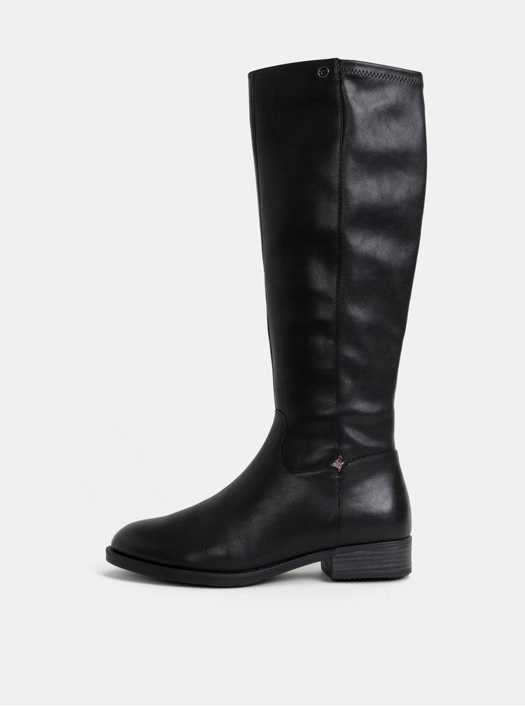 Čierne kožené čižmy Tamaris