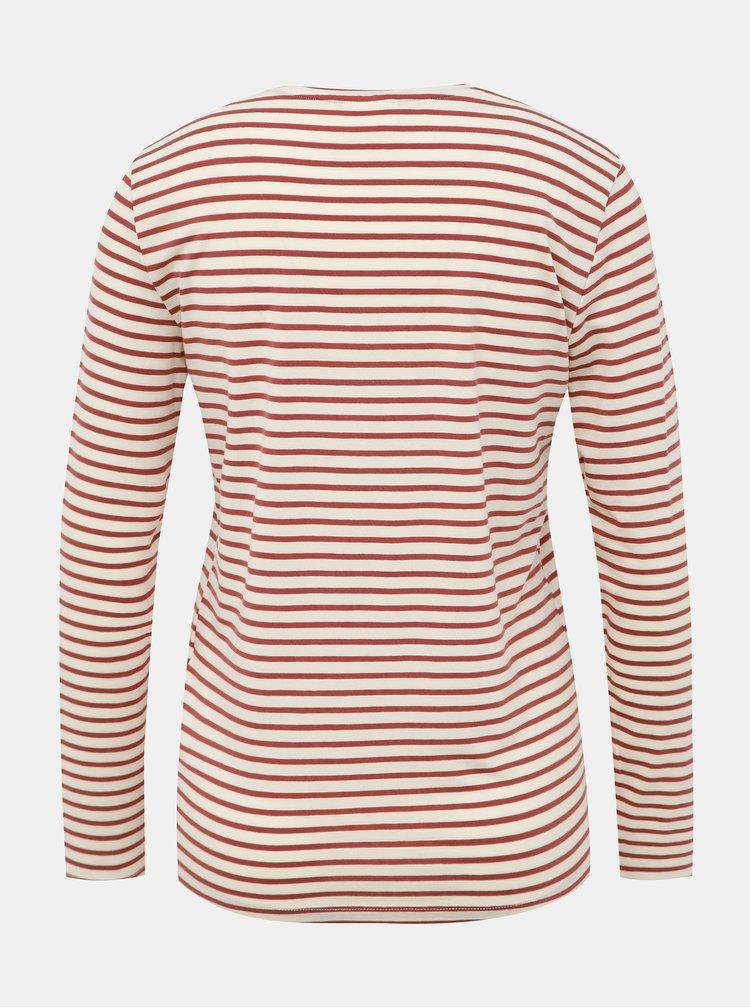 Krémovo-hnedé pruhované basic tričko AWARE by VERO MODA Mava