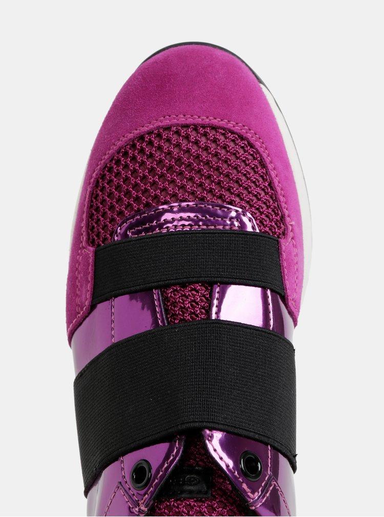 Růžové dámské metalické tenisky se semišovými detaily Geox Suzzie
