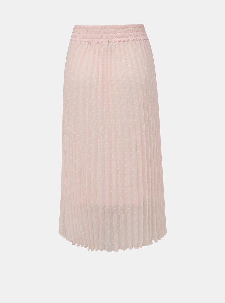 Rúžová plisovaná vzorovaná midi sukňa Miss Selfridge