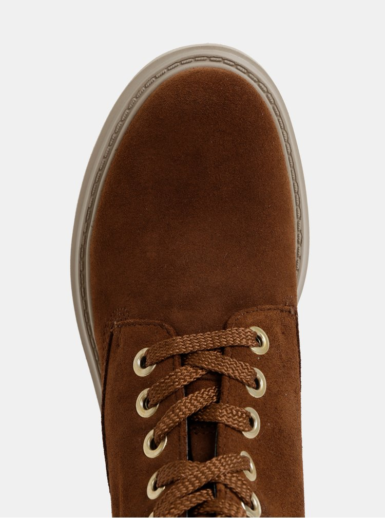 Hnědé dámské semišové kotníkové nepromokavé zimní boty Geox Asheely