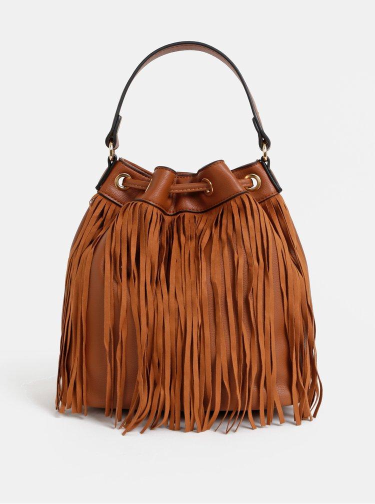 Hnedá vaková kabelka so strapcami Dorothy Perkins