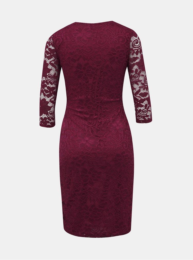 Vínové krajkové púzdrové šaty Dorothy Perkins