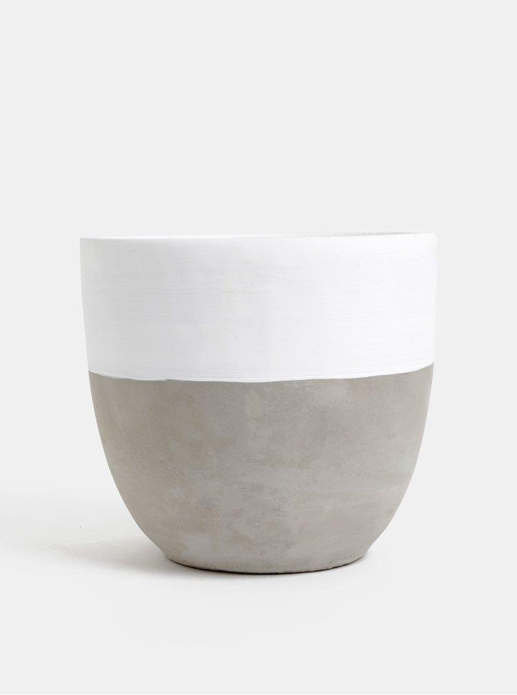 Šedo-bílý betonový květináč Dakls