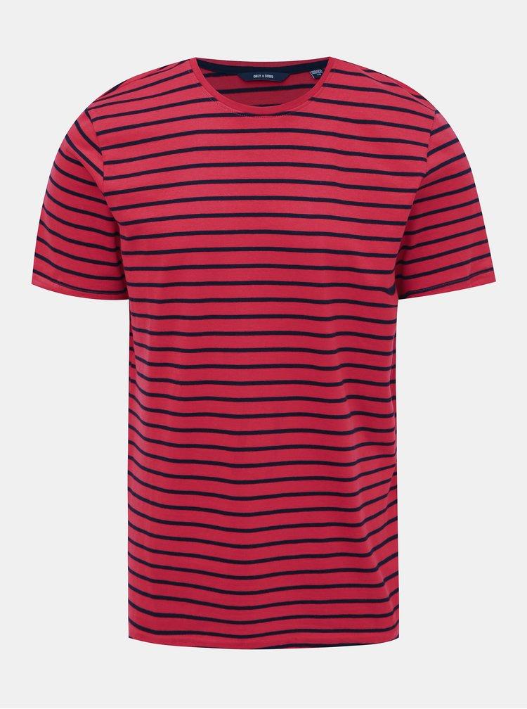 Červené pruhované basic tričko ONLY & SONS Boinka