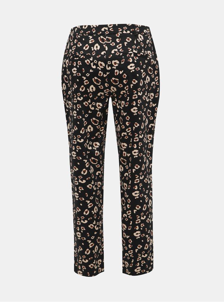 Čierne skrátené nohavice s leopardím vzorom Dorothy Perkins