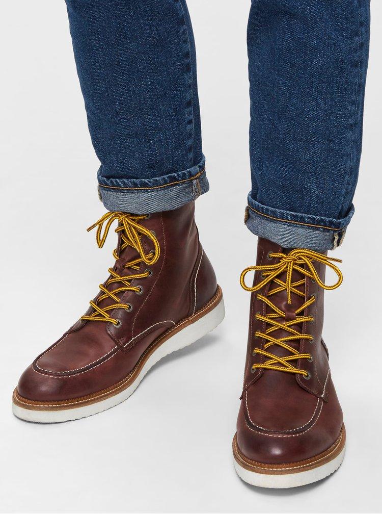 Tmavě hnědé pánské kotníkové boty Selected Homme Teo