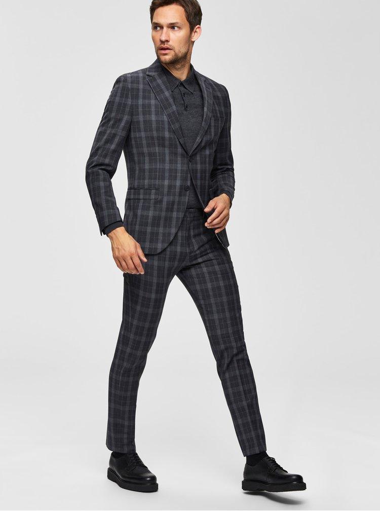 Šedé kockované oblekové slim fit nohavice s prímesou vlny Selected Homme Myloport