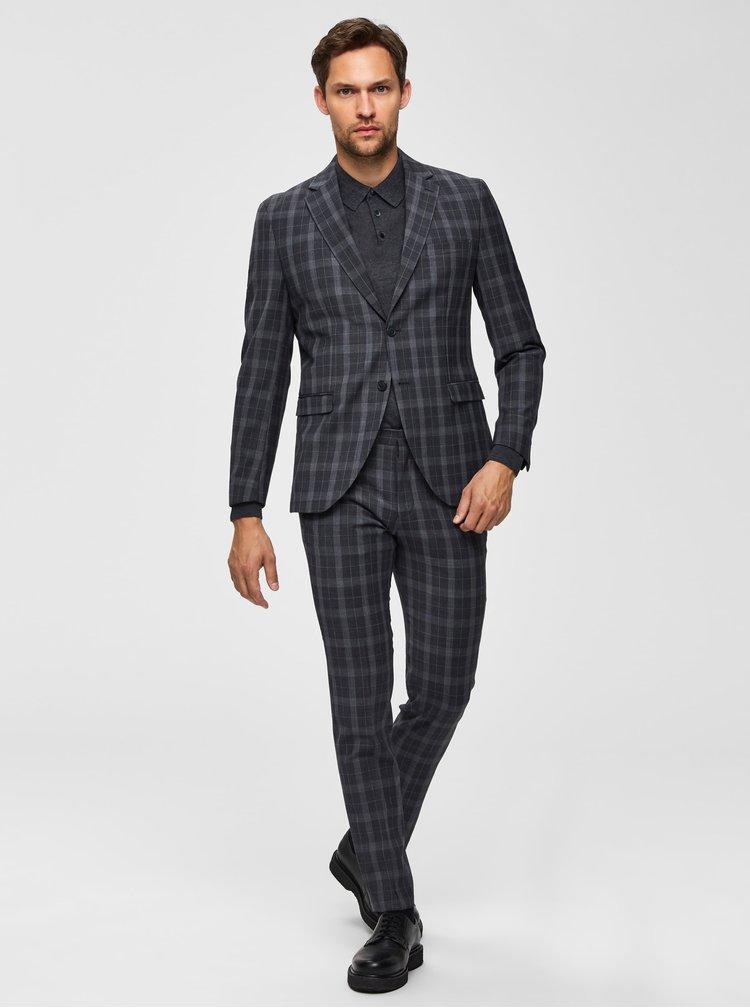 Šedé kostkované slim fit sako s příměsí vlny Selected Homme Myloport