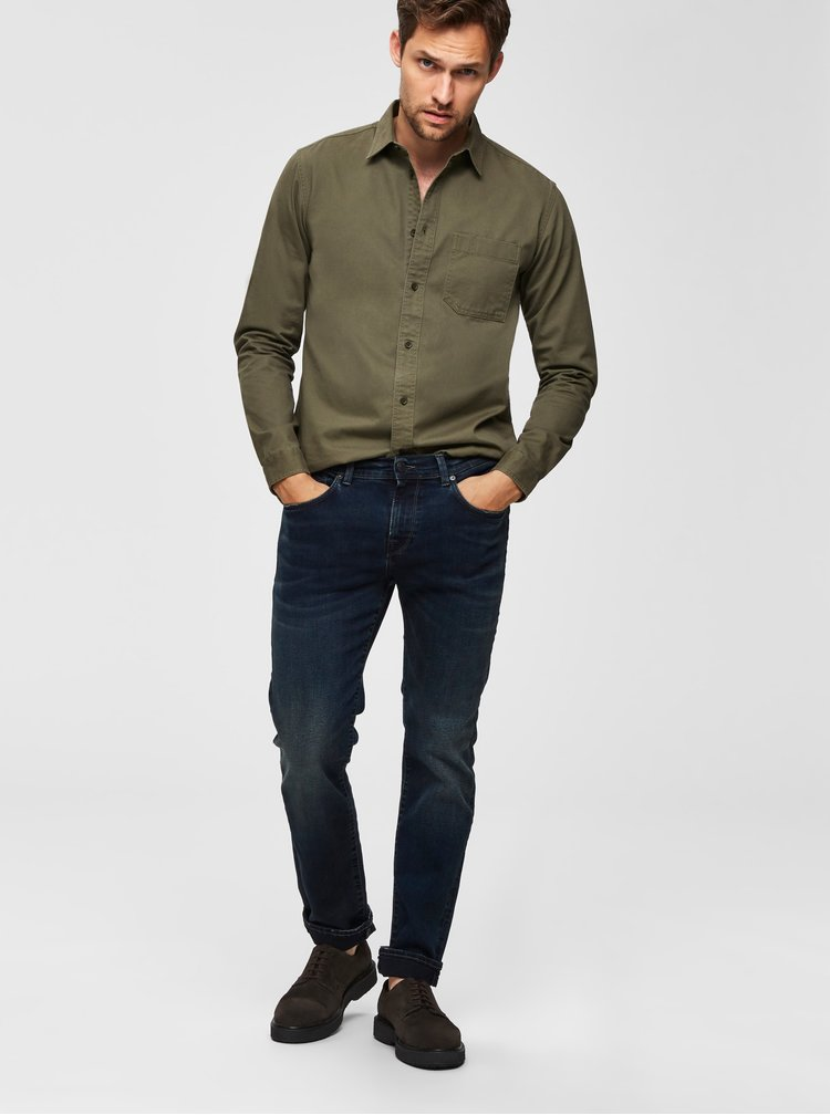Tmavomodré slim fit rifle Selected Homme Leon