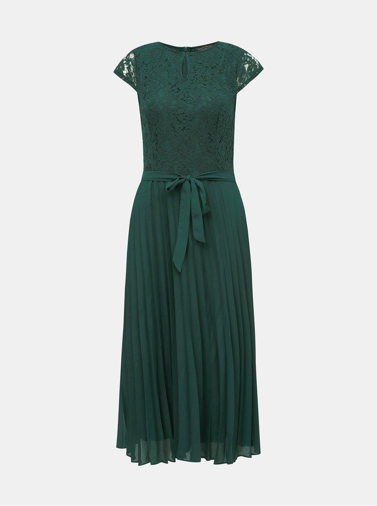 Zelené krajkové midi šaty s plisovanou sukňou Dorothy Perkins