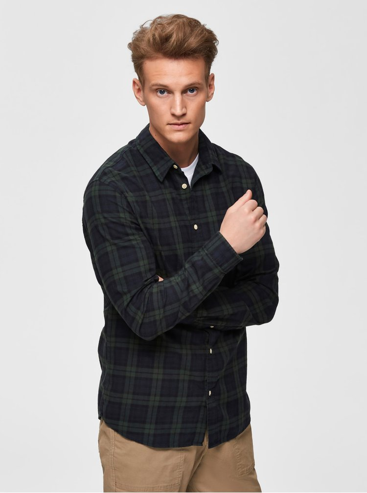 Tmavozelená kockovaná slim fit košeľa Selected Homme Wood