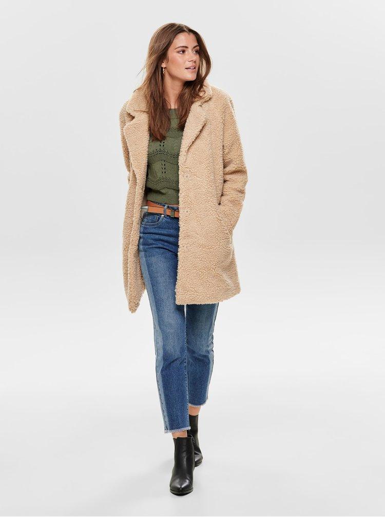Béžový kabát z umelej kožušiny ONLY Aurelia
