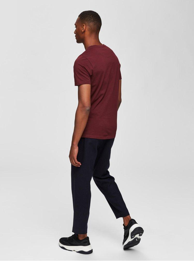 Vínové tričko Selected Homme Ian