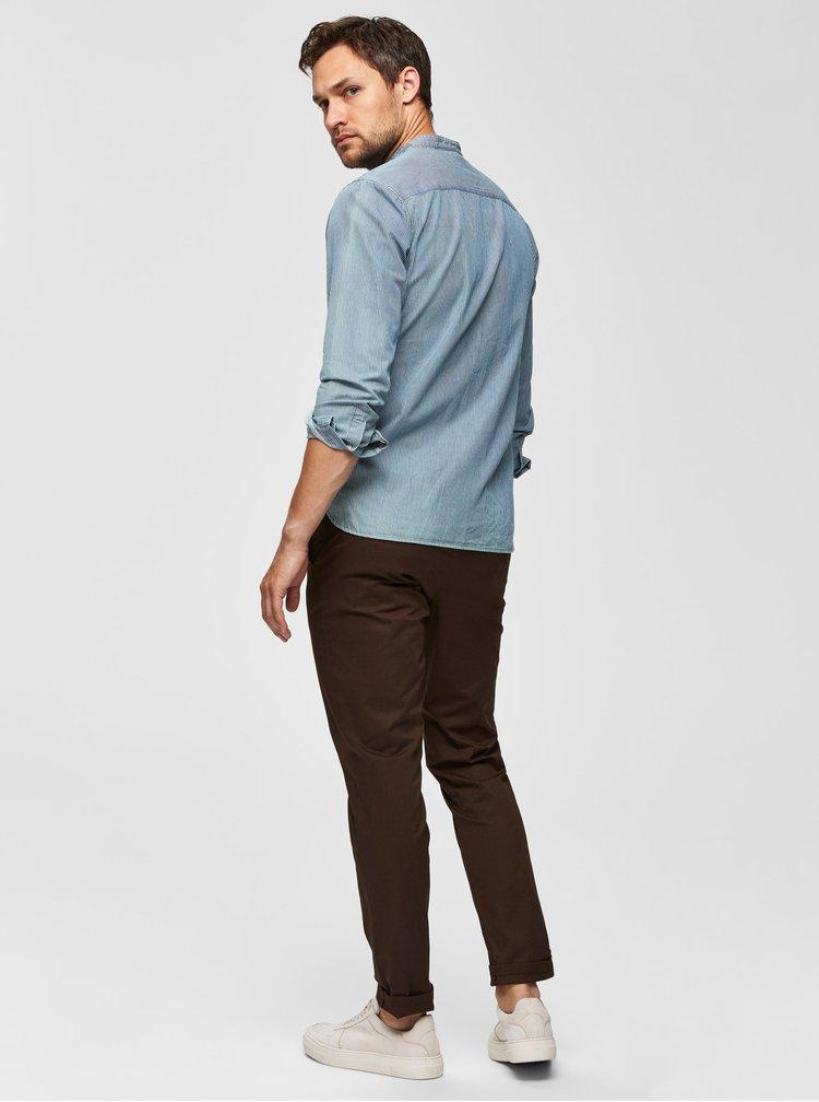 Hnědé slim fit kalhoty Selected Homme Yard