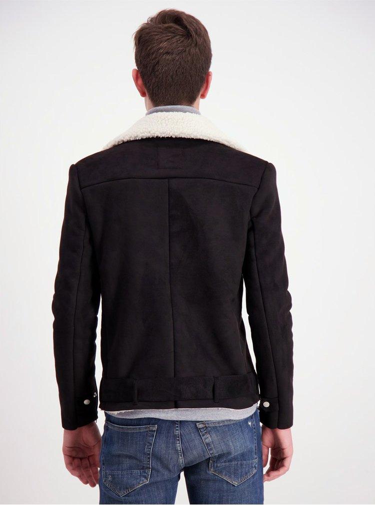 Čierna bunda v semišovej úprave Lindbergh