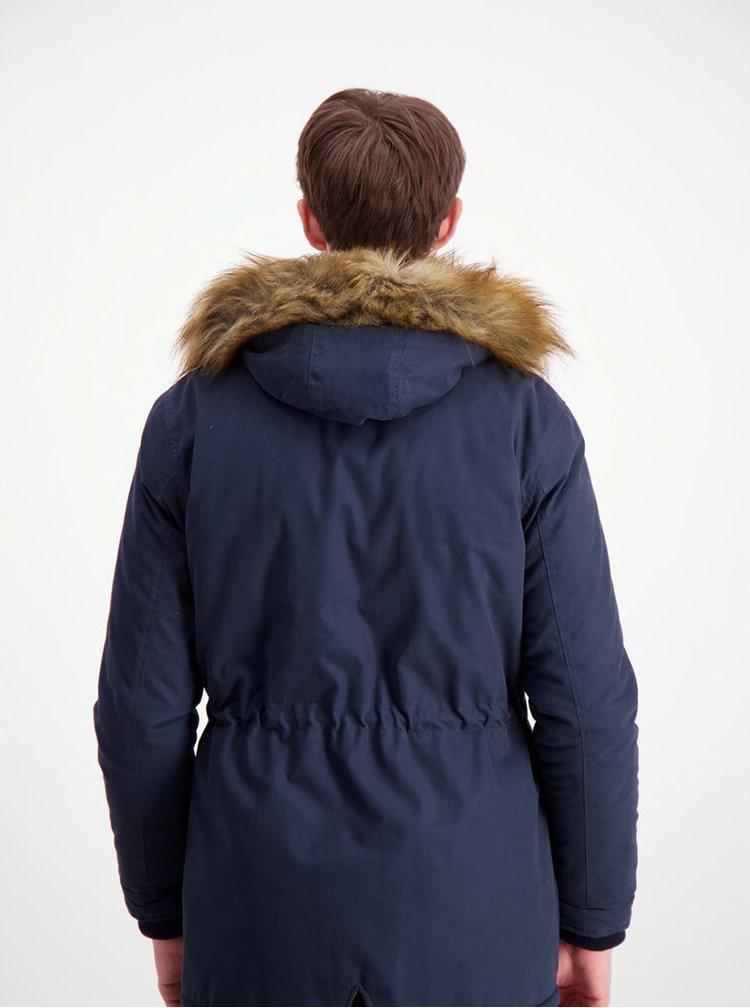 Tmavě modrá zimní parka s umělým kožíškem Shine Original