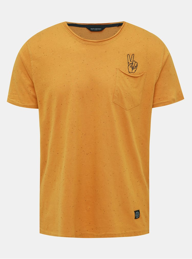 Hořčicové vzorované tričko Shine Original