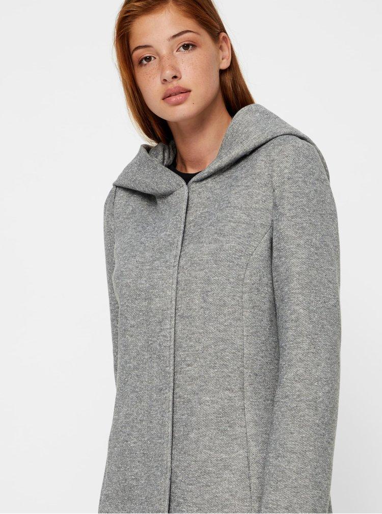 Sivý melírovaný kabát s kapucňou VERO MODA Rodona