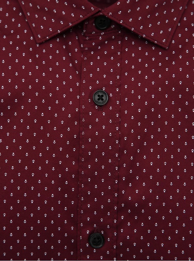 Vínová vzorovaná slim fit košile ONLY & SONS Alves