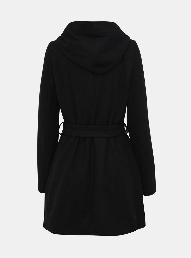 Čierny kabát s prímesou vlny VERO MODA Joyce Daisy