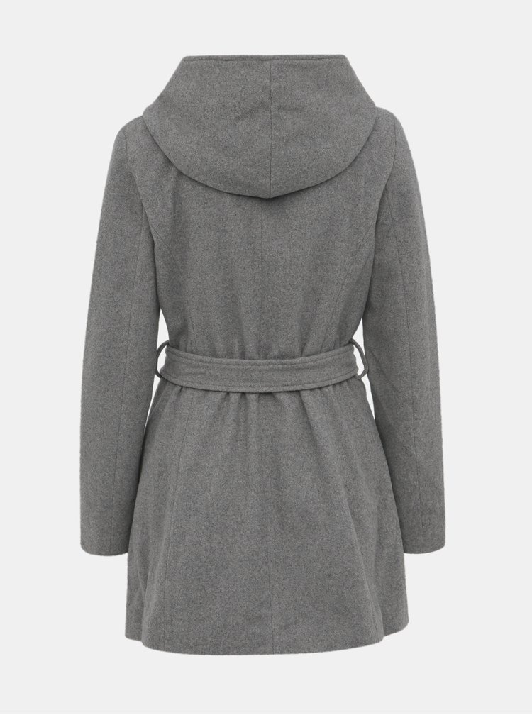 Šedý kabát s prímesou vlny VERO MODA Joyce Daisy