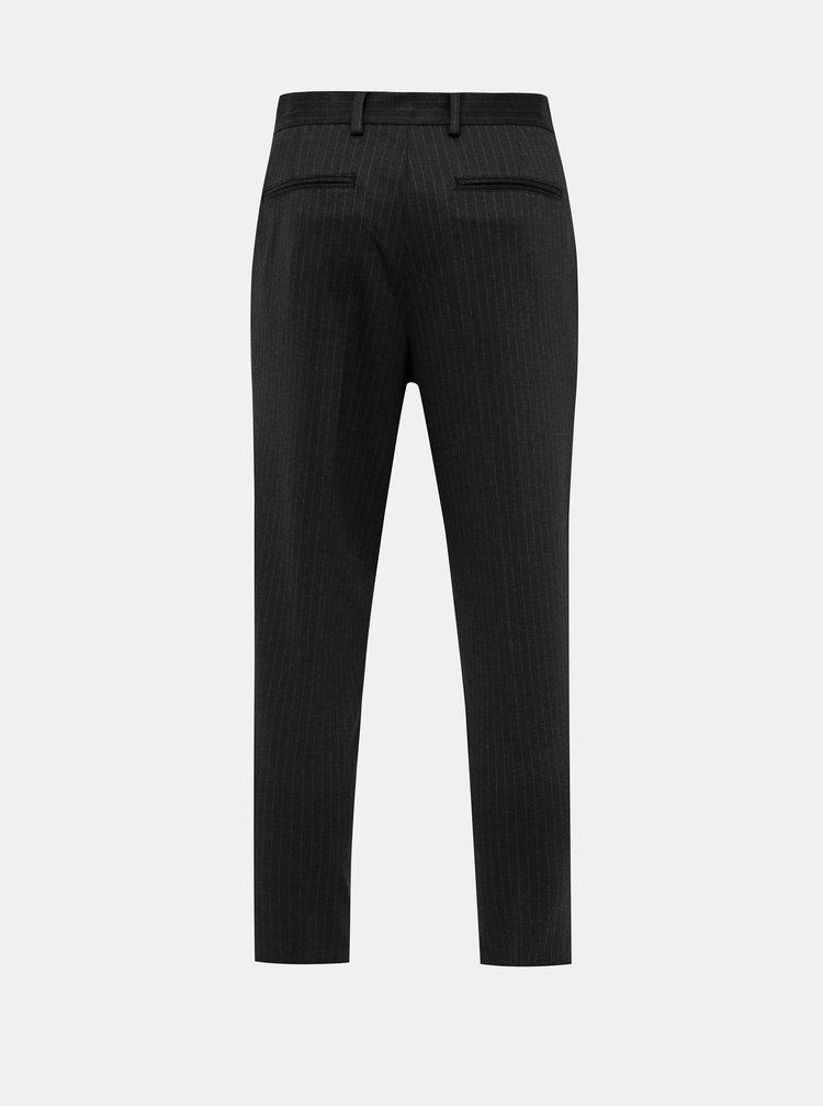 Tmavošedé pruhované slim fit nohavice Selected Homme New Jersey