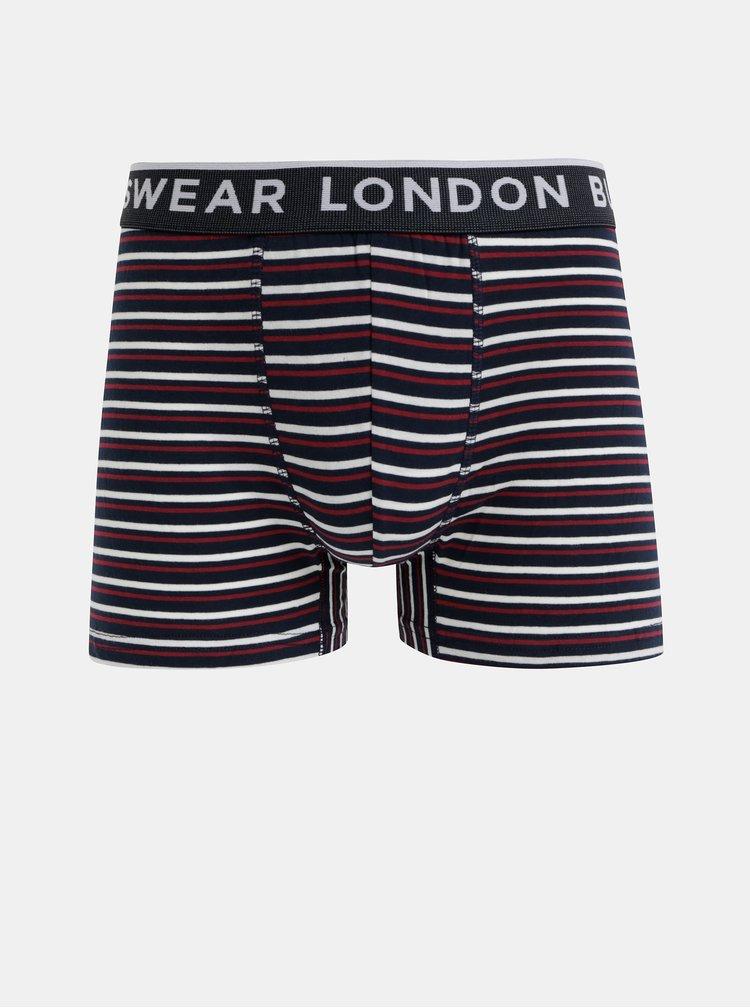 Sada troch boxeriek v bielej, šedej a modrej farbe Burton Menswear London