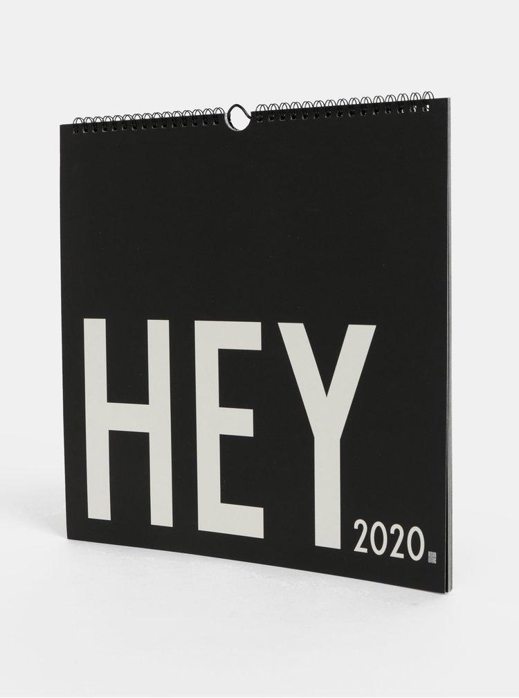 Černý nástěnný kalendář se samolepkami Design Letters 2020