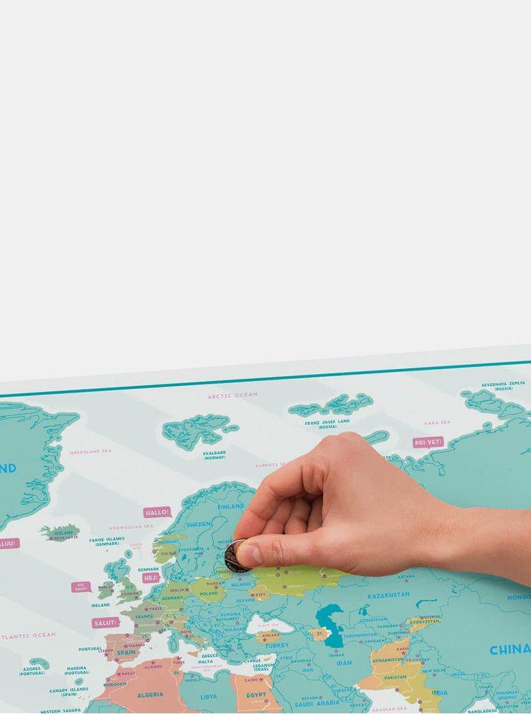 Velká nástěnná stírací mapa Luckies Hello Edition