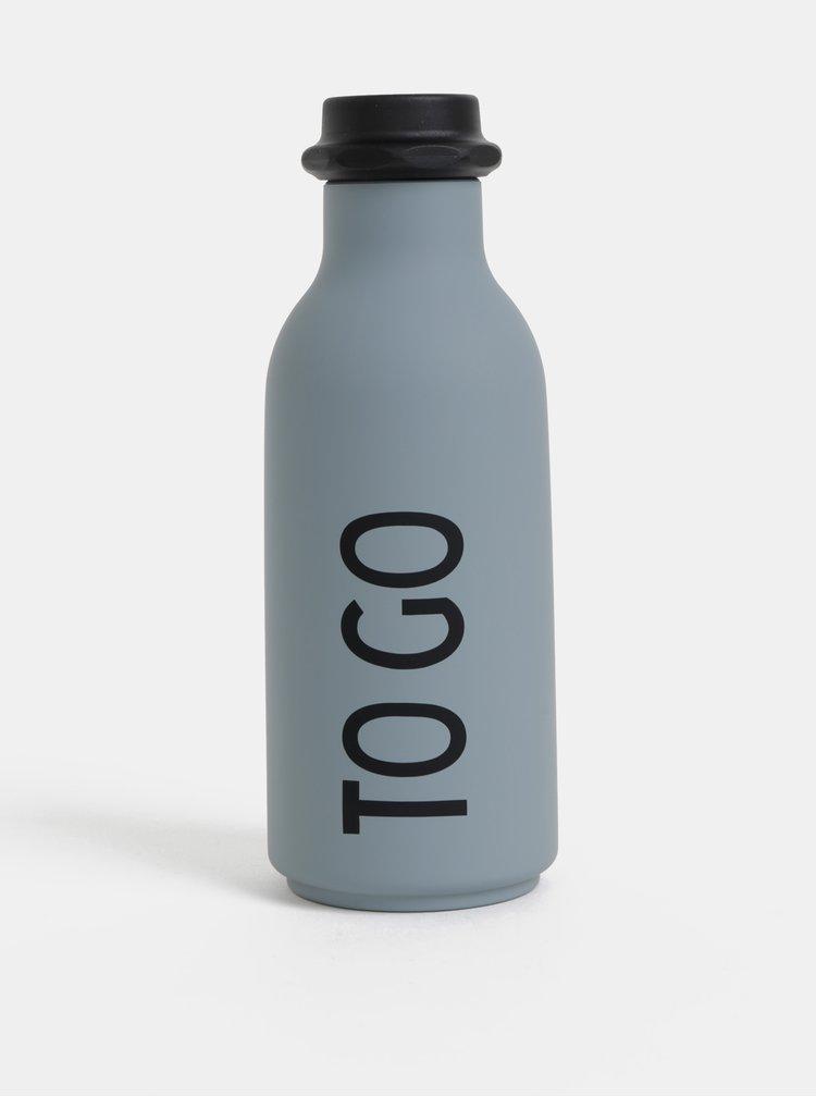 Šedá fľaška na nápoj Design Letters 500 ml