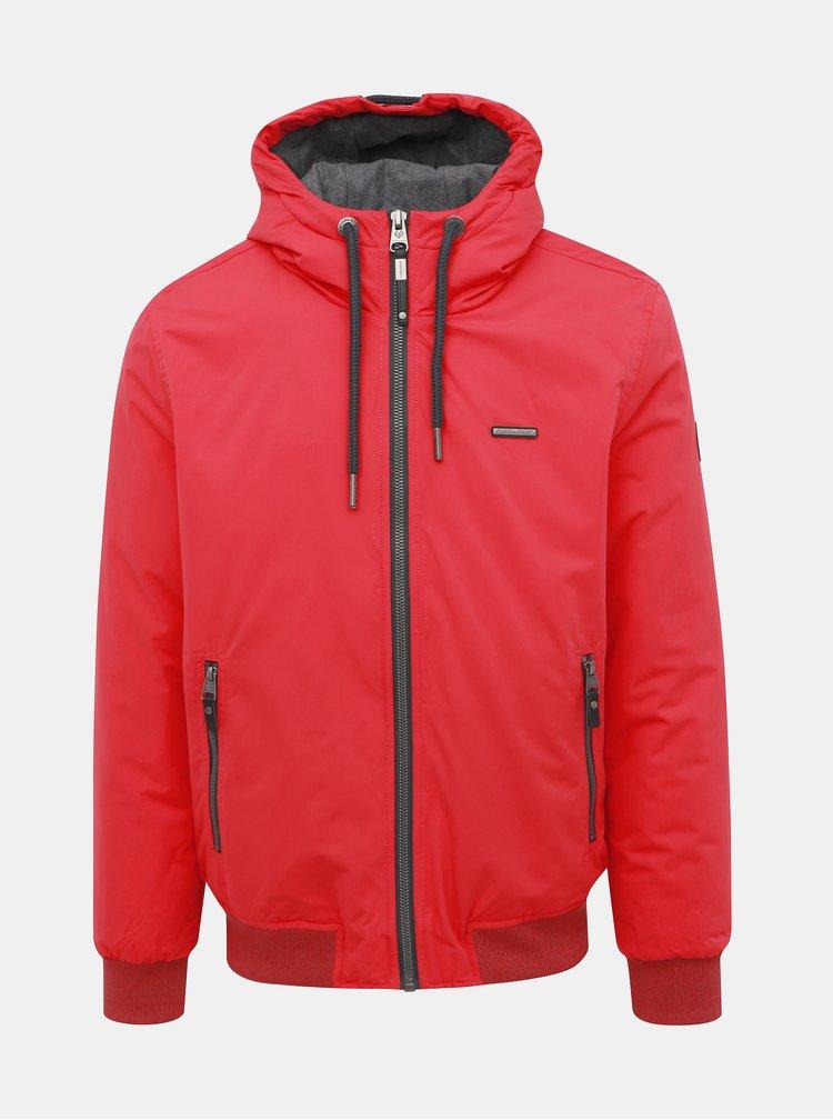 Červená pánska zimná nepromokavá bunda Ragwear Percy